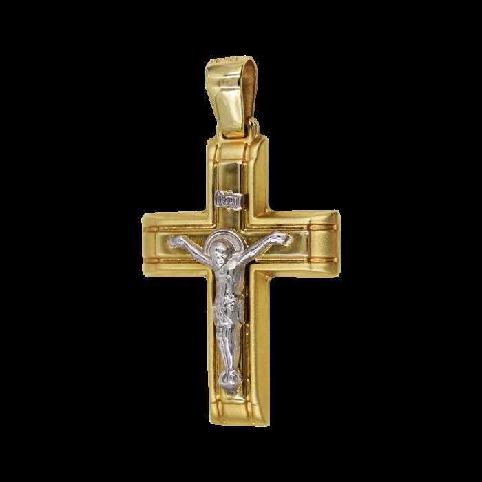 Ανδρικός δίχρωμος σταυρός 14Κ - ST1437