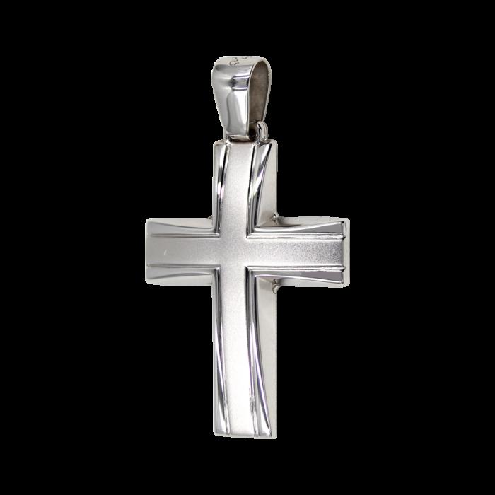 Ανδρικός λευκόχρυσος σταυρός 14Κ - ST1439