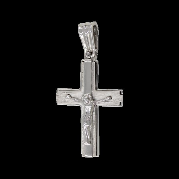 Ανδρικός λευκόχρυσος σταυρός 14Κ - ST1442