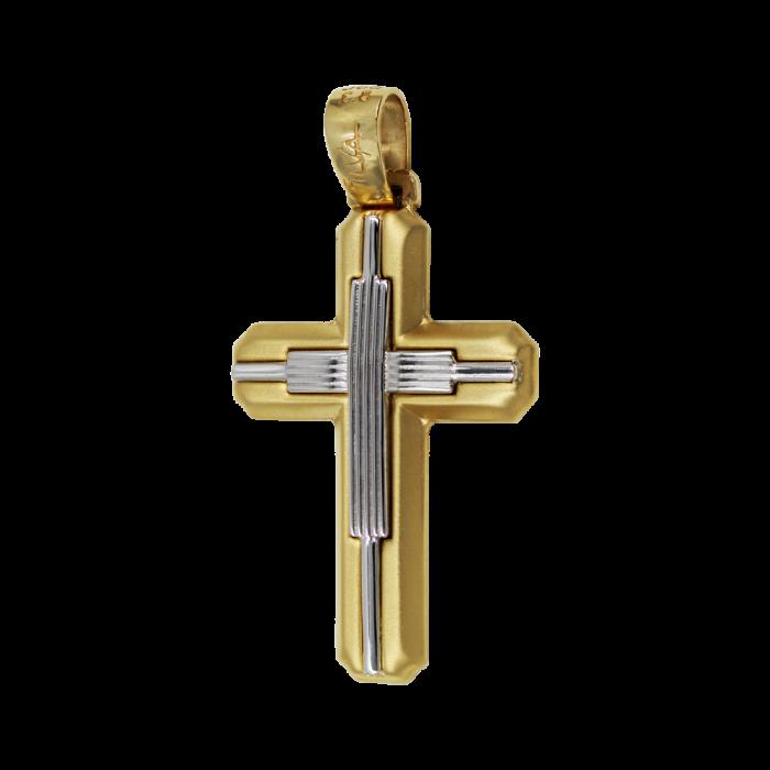 Ανδρικός δίχρωμος σταυρός 14Κ - ST1456