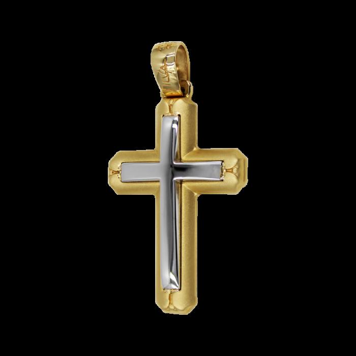 Ανδρικός δίχρωμος σταυρός 14Κ - ST1457