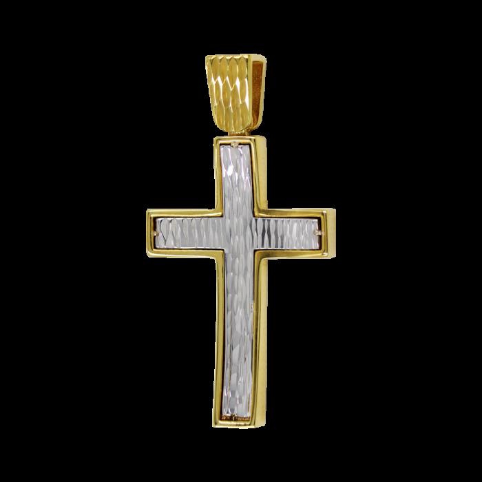 Ανδρικός δίχρωμος σταυρός 14Κ - ST1478