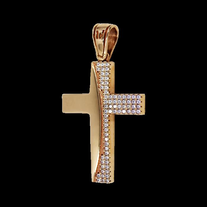 Γυναικείος ροζ χρυσός σταυρός 14Κ - ST1487