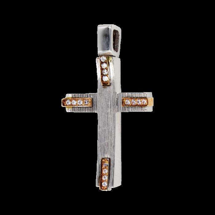 Γυναικείος δίχρωμος σταυρός 14Κ - ST1490