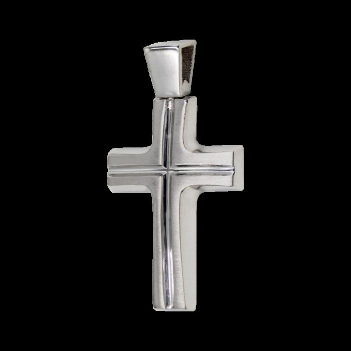 Ανδρικός λευκόχρυσος σταυρός 14Κ - ST1495