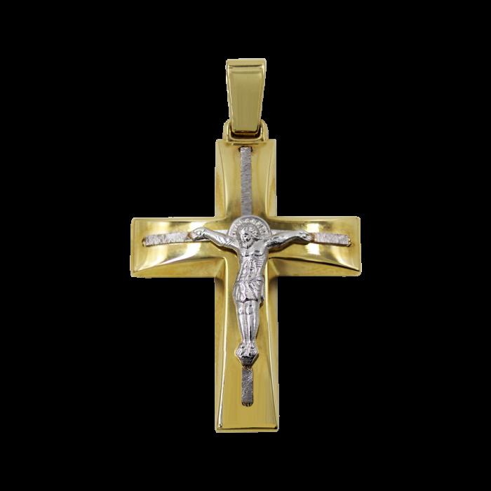 Ανδρικός δίχρωμος σταυρός 14Κ - ST1528