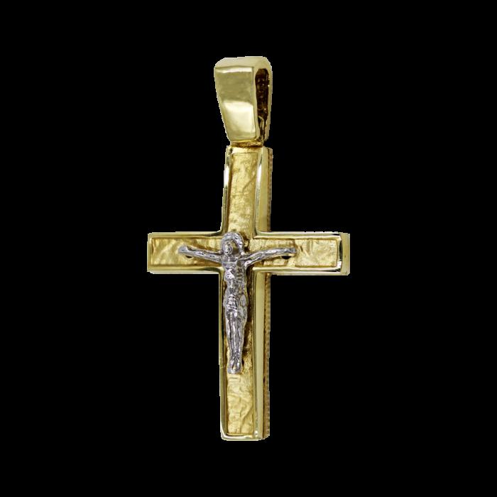 Ανδρικός δίχρωμος σταυρός 14Κ - ST1548
