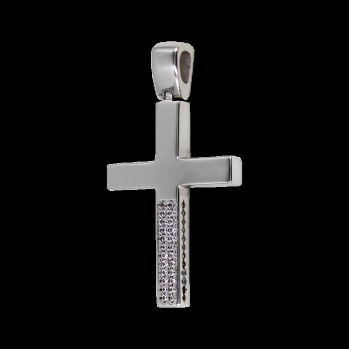 Γυναικείος λευκόχρυσος σταυρός 14Κ - ST1555