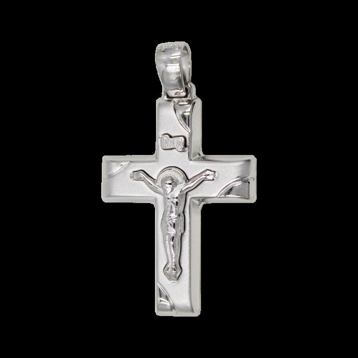 Ανδρικός Λευκόχρυσος Σταυρός 14Κ - ST1571