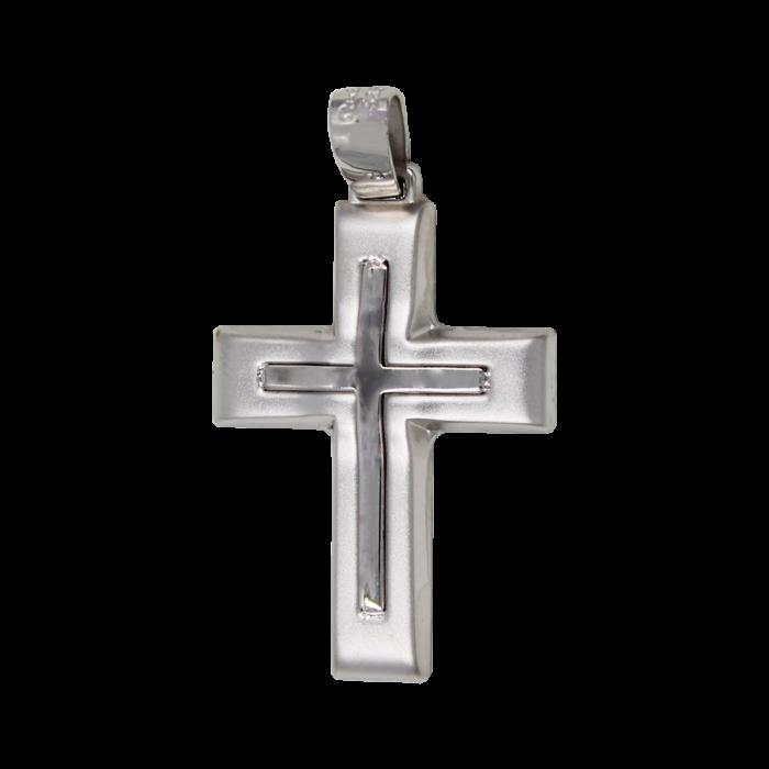 Ανδρικός Λευκόχρυσος Σταυρός 14Κ - ST1572