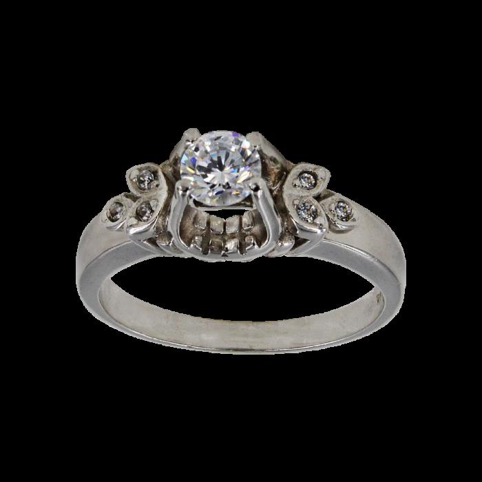 Μονόπετρο δαχτυλίδι λευκόχρυσο 14Κ - MD1011