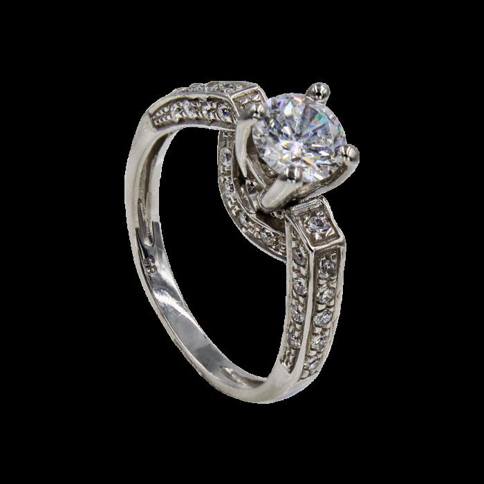 Μονόπετρο δαχτυλίδι λευκόχρυσο 14Κ - MD1012