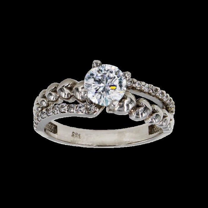 Μονόπετρο δαχτυλίδι λευκόχρυσο 14Κ - MD1013