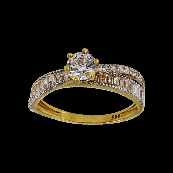 Μονόπετρο δαχτυλίδι χρυσό 14Κ - MD1014Κ