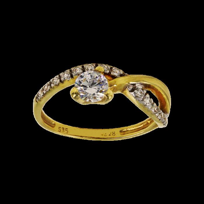 Μονόπετρο δαχτυλίδι χρυσό 14Κ - MD1016