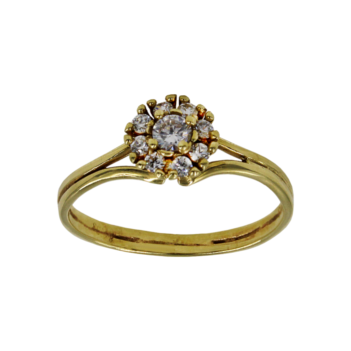 Μονόπετρο δαχτυλίδι χρυσό 14Κ - MD1017