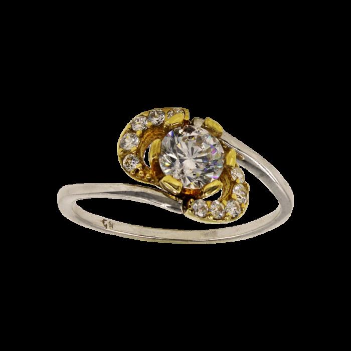Μονόπετρο δαχτυλίδι δίχρωμο 14Κ - MD1019