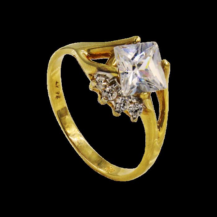 Μονόπετρο δαχτυλίδι χρυσό 14Κ - MD1022