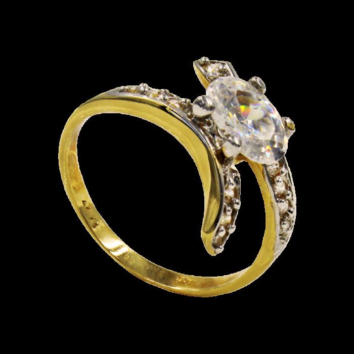 Μονόπετρο δαχτυλίδι χρυσό 14Κ - MD1025