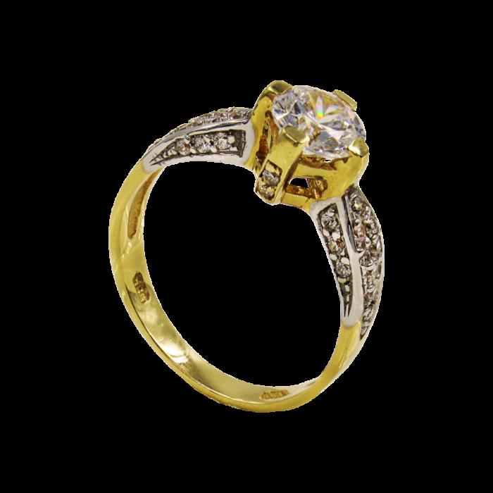 Μονόπετρο δαχτυλίδι χρυσό 14Κ - MD1026