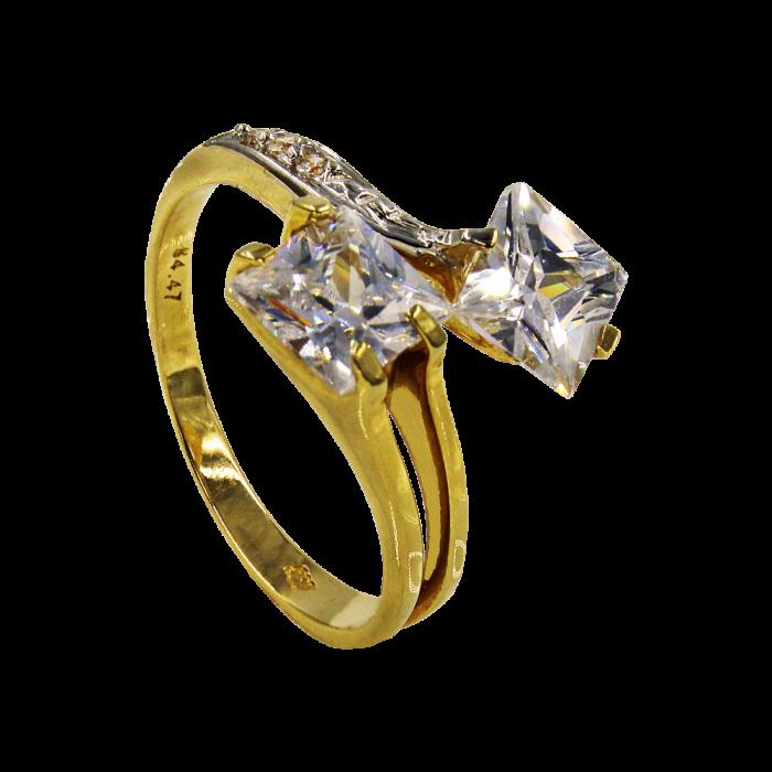 Δίπετρο δαχτυλίδι χρυσό 14Κ - MD1027