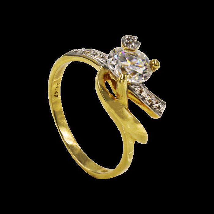 Μονόπετρο δαχτυλίδι χρυσό 14Κ - MD1028
