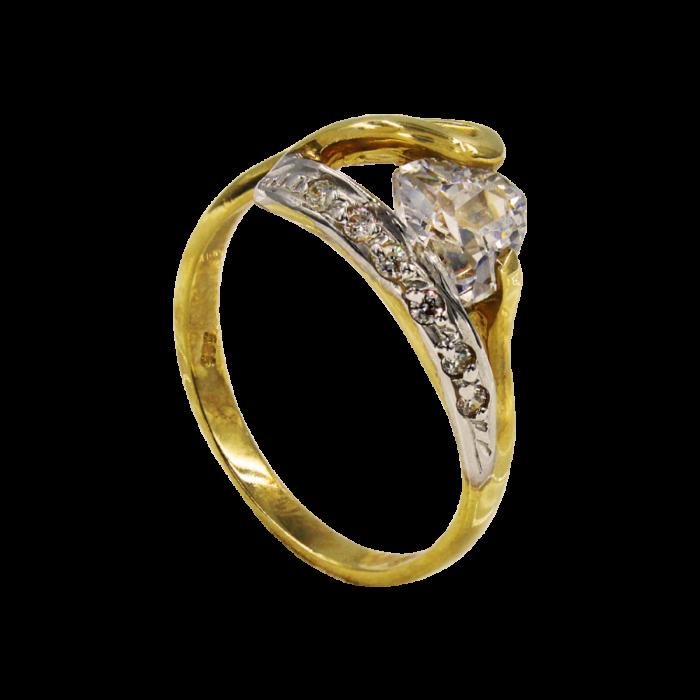 Μονόπετρο δαχτυλίδι χρυσό 14Κ - MD1030