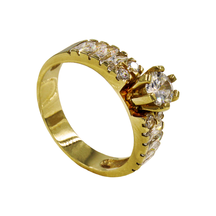 Μονόπετρο δαχτυλίδι χρυσό 14Κ - MD1032