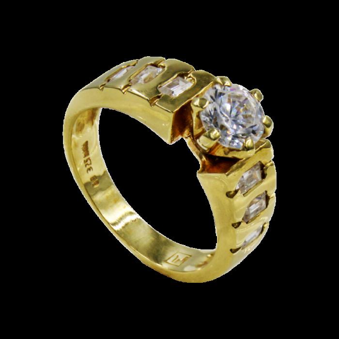 Μονόπετρο δαχτυλίδι χρυσό 14Κ - MD1033