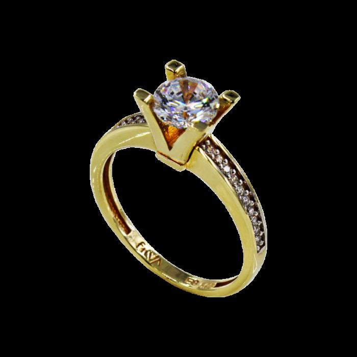 Μονόπετρο δαχτυλίδι χρυσό 14Κ - MD1037