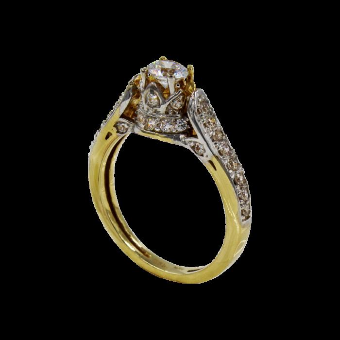 Μονόπετρο δαχτυλίδι χρυσό 14Κ - MD1038