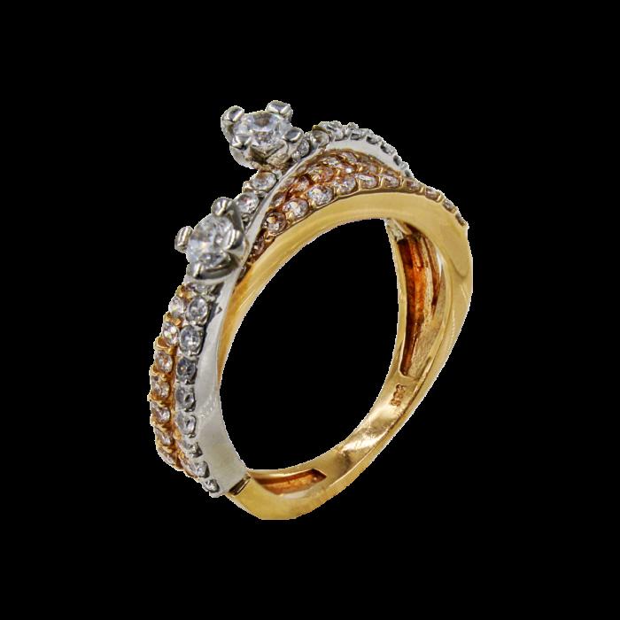 Γυναικείο δαχτυλίδι δίχρωμο 14Κ - MD1039