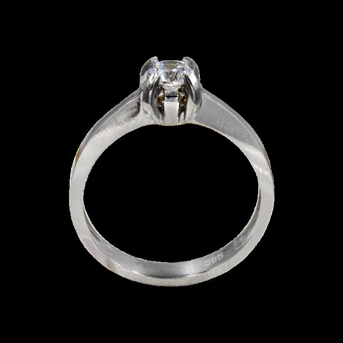 Μονόπετρο δαχτυλίδι λευκόχρυσο 14Κ - MD1048