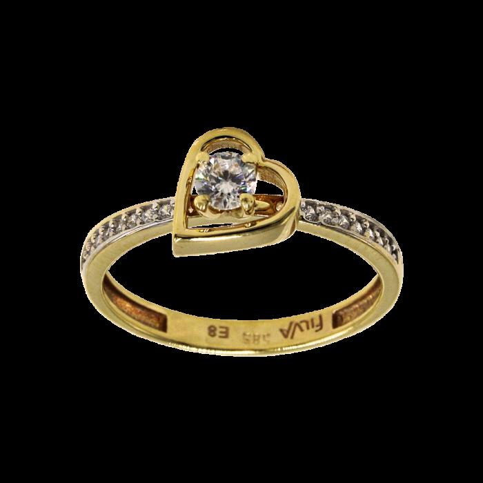 Μονόπετρο δαχτυλίδι χρυσό 14Κ - MD1049