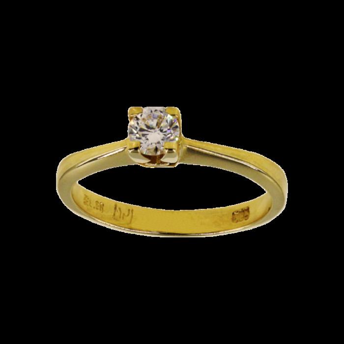 Μονόπετρο δαχτυλίδι χρυσό 14Κ - MD1050