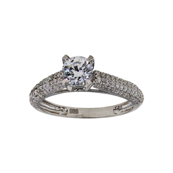 Μονόπετρο δαχτυλίδι λευκόχρυσο 14Κ - MD1052