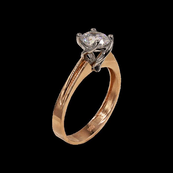 Μονόπετρο δαχτυλίδι δίχρωμο 14Κ - MD1054