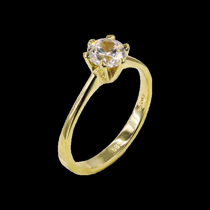 Μονόπετρο δαχτυλίδι χρυσό 14Κ - MD1056K