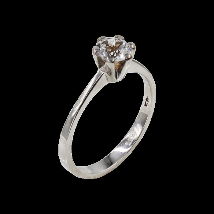Μονόπετρο δαχτυλίδι λευκόχρυσο 14Κ - MD1056L