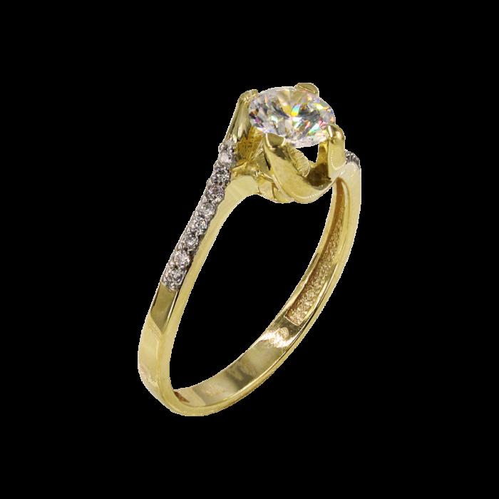 Μονόπετρο δαχτυλίδι χρυσό 14Κ - MD1057