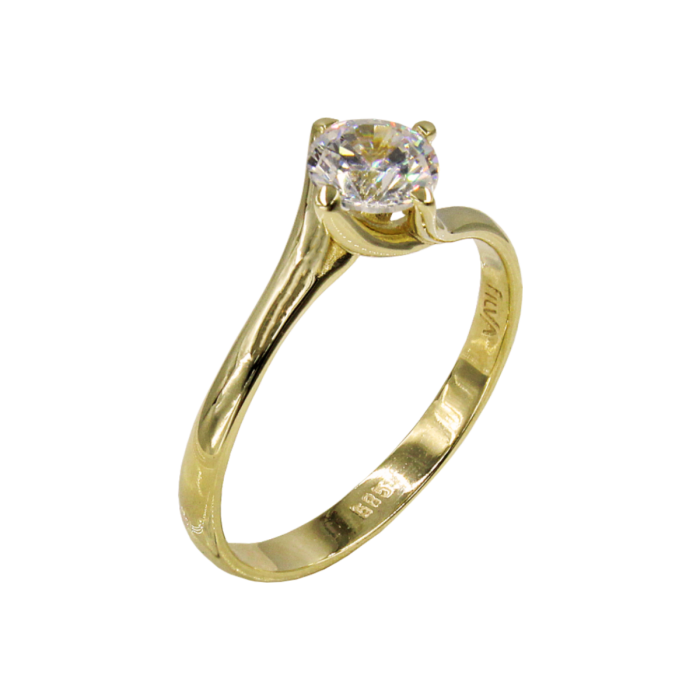 Μονόπετρο δαχτυλίδι χρυσό 14Κ - MD1058