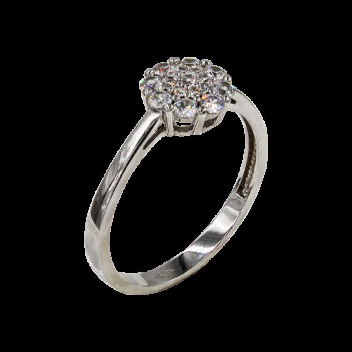 Μονόπετρο δαχτυλίδι λευκόχρυσο 14Κ - MD1061