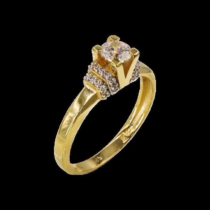 Μονόπετρο δαχτυλίδι χρυσό 14Κ - MD1065