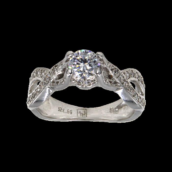 Μονόπετρο δαχτυλίδι λευκόχρυσο 14Κ - MD41081