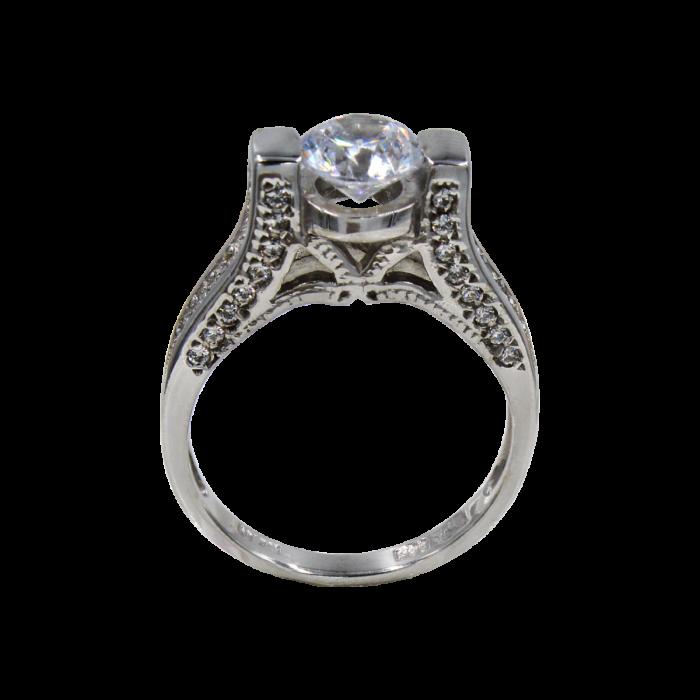 Μονόπετρο δαχτυλίδι λευκόχρυσο 14Κ - MD41085