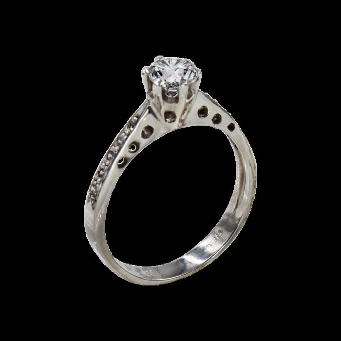 Μονόπετρο δαχτυλίδι λευκόχρυσο 14Κ - MD41096