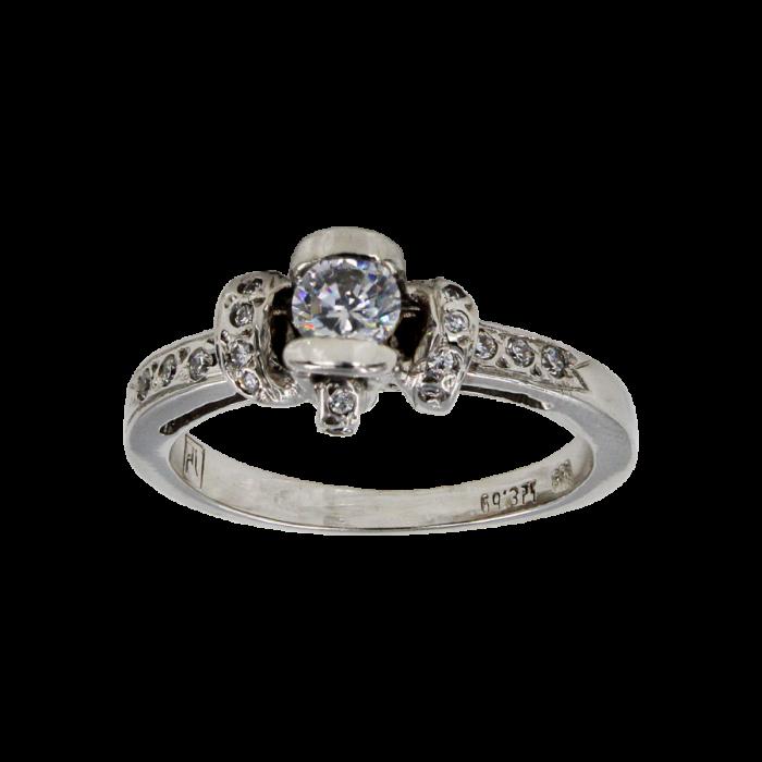 Μονόπετρο δαχτυλίδι λευκόχρυσο 14Κ - MD41103