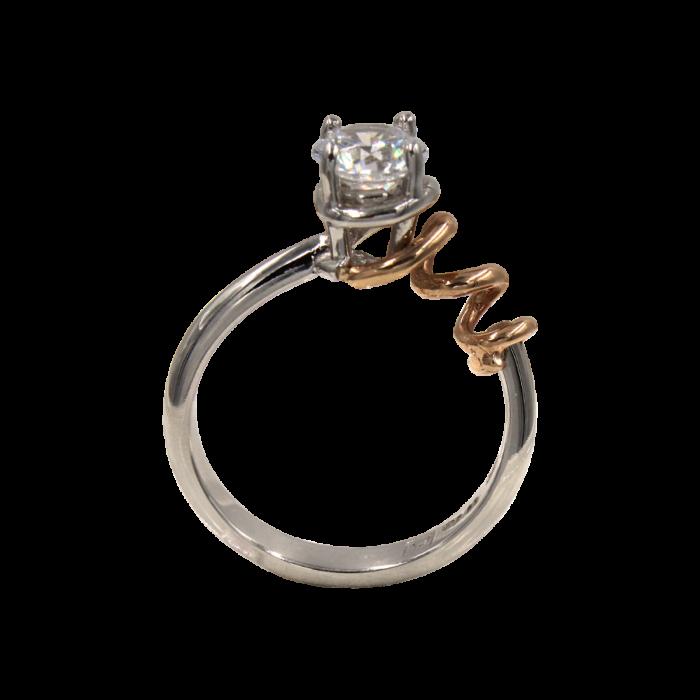 Μονόπετρο δαχτυλίδι δίχρωμο 14Κ - MD41247