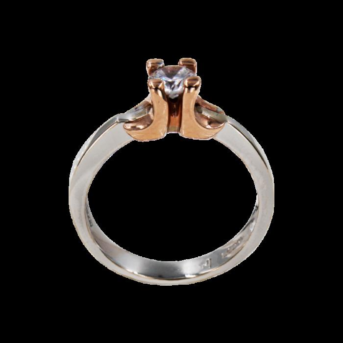 Μονόπετρο δαχτυλίδι δίχρωμο 14Κ - MD41250