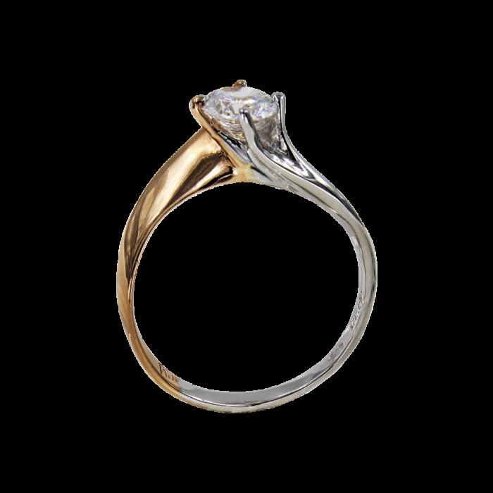 Μονόπετρο δαχτυλίδι δίχρωμο 14Κ - MD41358